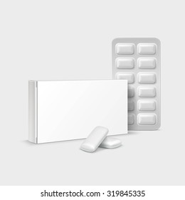 Vector Pack of Chewing Gum Isolated on White Background