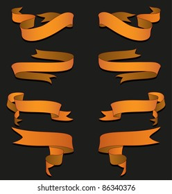 A vector pack of golden ribbons. All objects are separated, the can be scaled or recolored without problems and quality loss.