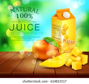 Vector pack of mango juice with slices and diced mango standing on a wooden table on the background of the sky and green foliage