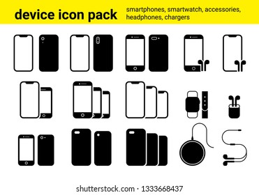 Vector pack of somply illustrated icons containung smartphone models, airpods and other accessories