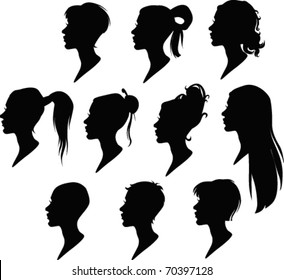 vector pack of woman's hairstyle