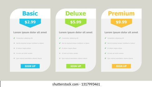 Vector Package Price Plans Option Graphic Element
