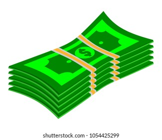 Vector packages of dollar banknotes in various angles. Pile of the cash Isometric illustration