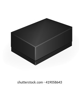 VECTOR PACKAGING: Black closed mobile phone or shoe box on isolated white background. Mock-up template ready for design.