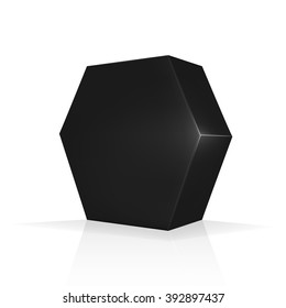 VECTOR PACKAGING: Black hexagon packaging box on isolated white background. Mock-up template ready for design.