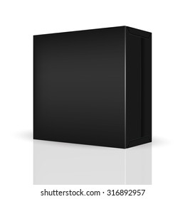 VECTOR PACKAGING: Black package box on isolated white background. Mock-up template ready for design