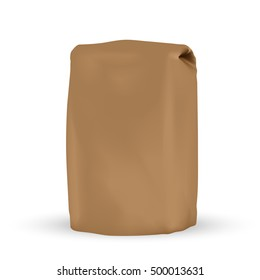 VECTOR PACKAGING: Blank brown packaging bag for bulk products, tea, coffee, spices on isolated white background. Mock-up template ready for design