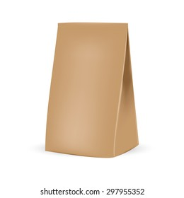 VECTOR PACKAGING: Brown clean packaging bag on isolated white background. Mock-up template ready for design
