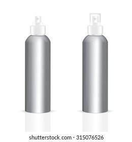 VECTOR PACKAGING: Set of aluminum body round bottle sprayer for cosmetic/perfume on isolated white background. Mock-up template ready for design .