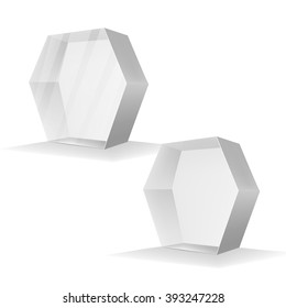 VECTOR PACKAGING: Set of White gray hexagon packaging box on isolated white background. Mock-up template ready for design.