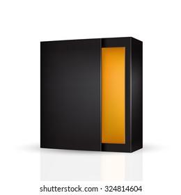 VECTOR PACKAGING: Slide to open modern black orange inside packaging box on isolated white background. Mock-up template ready for design.