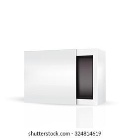 VECTOR PACKAGING: Slide to open modern white gray, black inside  packaging box on isolated white background. Mock-up template ready for design.