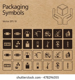 Vector packaging symbols on vector cardboard background. Shipping icon set including Don't roll, Protect from radiation, Clamp here, Handle with care, Don't litter and other caution handling symbols.