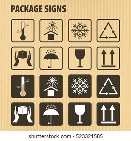 Vector packaging symbols on vector cardboard background. Icon set including fragile, this side up, handle with care, keep dry and other caution handling symbols. Stock vector. Flat design.