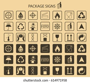 Vector packaging symbols on vector. Shipping icon set including recycling, fragile, the shelf life of the product, flammable, non-toxic material, this side up, other symbols. Use on package.