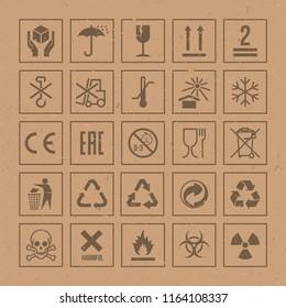 Vector packaging symbols set on cardboard background