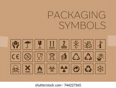 Vector packaging symbols set on cardboard