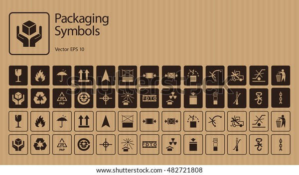 Vector packaging symbols set on cardboard background: Don't roll, litter, Clamp here, No hand- or forklift truck, Handling with care, Protect from radiation and other signs and icons. Use on package