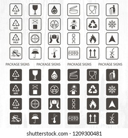 Vector packaging symbols. Shipping icon set including recycling, fragile, the shelf life of the product, flammable, non-toxic material, this side up, other symbols. Use on package.