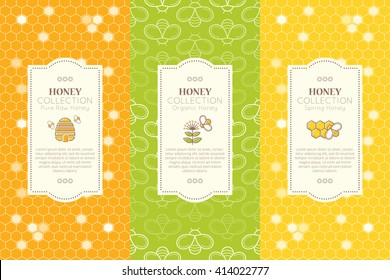 Vector packaging template with seamless patterns. Natural honey collection (types of honey - pure raw, organic, spring). Fresh color palette of yellow and green tints