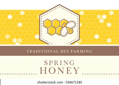Vector packaging template with seamless patterns. Natural honey collection (sorts of honey - liquid spring honey). Warm color palette of golden tints