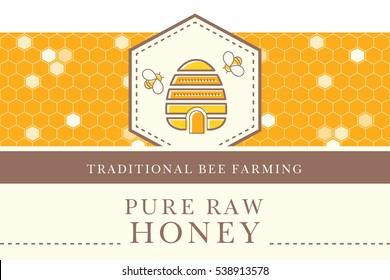 Vector packaging template with seamless patterns. Natural honey collection. Warm color palette of golden tints