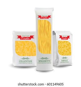 Vector Packaging Template. White Vertical Sealed Bag for Package Different Pasta. Design Close up Isolated on White Background.