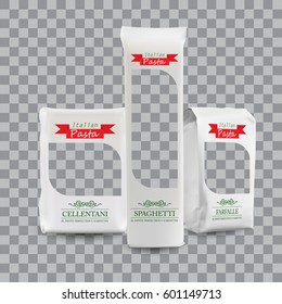Vector Packaging Template. White Vertical Sealed Bag for Package Different Pasta. Design Close up Isolated on Transparent Background.