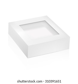 VECTOR PACKAGING: white gray packaging box with top window on isolated white background. Mock-up template ready for design.