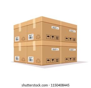 Vector Packing box overlaps isolated on white background, illustration