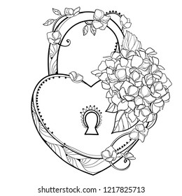 Vector padlock heart with bouquet of outline Hydrangea or Hortensia flower bunch and ornate leaf in black isolated on white background. Contour plant Hydrangea for romantic design or coloring book.