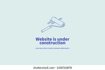 Vector page concept of site under construction with isometric illustration of linear minimalistic paint roller.