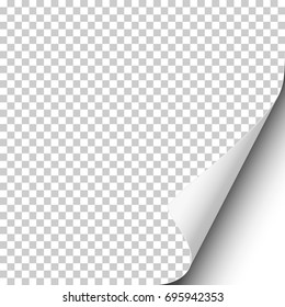 Vector page curl on blank transparent sheet of paper with shadow and white next page. Element for ad.