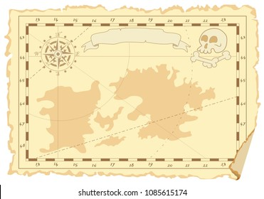 Vector page in form of an old map with continents and compass, skull and bones, place for drawings or records. Concept of pirate card. Suitable for notes, children's  rooms and table games children's