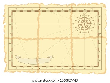 Vector page in form of an old not filled map with place for drawings or records. Concept of pirate card. Suitable for daily records, notes, children's table games, thematic children's rooms.