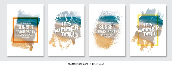 Vector paint brush clipping masks for summer flyer, holidays  brochure, banner, poster design. Beach summer blur background.