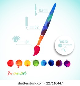 Vector paint brush silhouette made of watercolor, creative icons, watercolor creative concept. Creativity and draw. Lettering. quote. Artist's tool. Colorful Abstract vector ink paint splats
