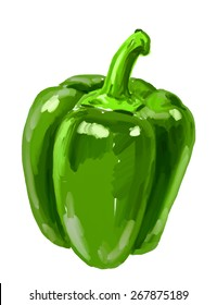 vector paint hand drawn picture of bell-pepper