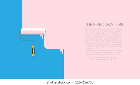 vector of paint roller painting pink color on blue empty wall house. creative home repair and painting concept, logo design poster template with copy space for your company text.