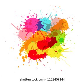 Vector paint splashes.Colorful paint stains banner.