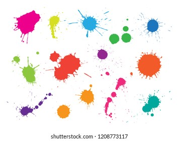 Vector paint splashes.Paint stains collection.