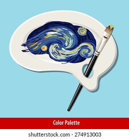 Vector of paint strokes on artist brain color plate with paint brush.