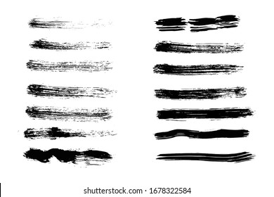 Vector Paintbrush Textures. Charcoal Smears. Black Rough Acrylic Abstract. Paint Brush Strokes Vector.
