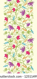 Vector painted blossoming branches vertical seamless pattern background border with hand drawn elements