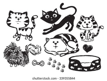 Vector painted cats