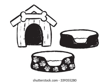 Vector painted dog kennel and beds