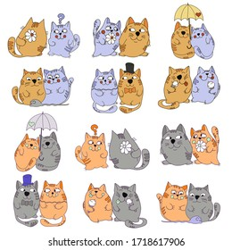 vector painted multicolored cats are engaged in various activities on a white background