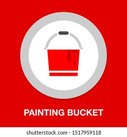 vector painting bucket illustration isolated, painting work, painting sign and symbol