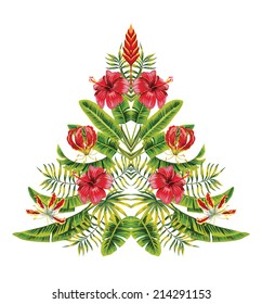 Vector painting christmas tree in hawaii mirror style hand drawn of tropical hibiscus flowers and palm banana leaves. Exotic symbol of the new year, merry Xmas on a white background
