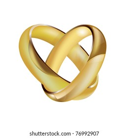 A vector pair of intertwined ladies and mens wedding rings in the shape of a heart